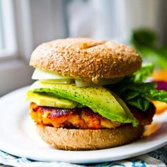 Sweet potatoe veggie burger with avacado