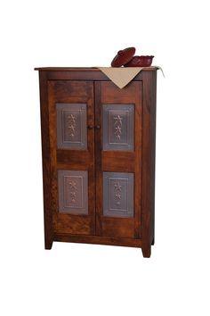 Custom Finished Handmade Amish Shaker Pie Safe Kitchen Cabinet Punched Tin Panel