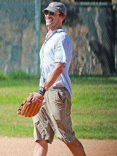 We can't get enough of Jon Hamm! The hunky guy kept a low profile under a cap 'n' sunnies during a casual game of baseball in L.A.