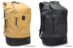 The Nixon Origami Backpack. The tough upper body is made from distressed PU coated canvas while the base of the bag is made using 1680D ballistic nylon. The bag features a main compartment that is accessed through an expandable military style closure, and a side entry zip laptop compartment. It also includes a front zip accessory pocket, an internal zipper storage pocket, and a headphone port on strap. Available in either black or khaki.