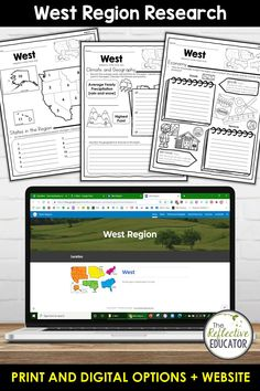 West Region - one of the 5 regions of the United States - is a research project for students in grades 2-4. With this one easy lesson, your students can learn to complete a short research project. Included in this fun resource is a link to the Reference Website created exclusively for this project. The website is kid-friendly and ad-free. When you purchase West Region, you get BOTH print and digital options making it easily compatible with Google Classroom™ and distance learning. Reference Website, Daily Lesson Plan, Create Website, Research Projects, Upper Elementary, Google Classroom, Social Studies, Distance, Remote