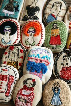 Embroidered faces