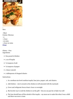 GLUTEN FREE Tequila Grilled or Baked Chicken Recipe