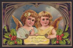 Christmas-Pretty Angels-PFB 9103-Series-Holly-Embossed Antique Postcard #Christmas