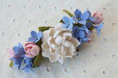 Hair barrette polymer clay flower. Flower by FloraAkkerman on Etsy
