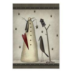 Shop Primitive Snowman, Birdhouse, Crow Poster created by trinaclarkdesigns. Primitive Christmas, Christmas Snowman, Rustic Christmas, Christmas Crafts, Christmas Decorations, Christmas Canvas, Christmas Blocks, Xmas, Christmas Signs