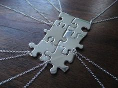 Puzzle piece necklaces. Cool gift idea for family or close friends!
