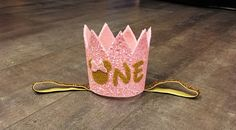 Large Pink and gold minnie mouse birthday crown headband, or pink and gold crown…