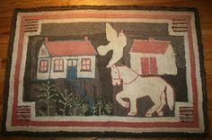 Early Hooked Rug Antique Folk Art American Primitive 1800 039 s Horse Bird House | eBay