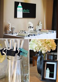 A milk-a-holic baby shower theme... How cute!