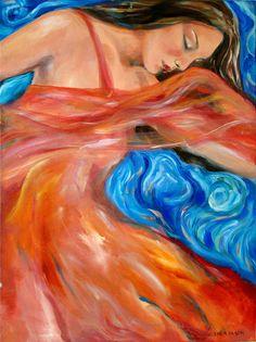 "Saatchi Online Artist: Linda Olsen; Acrylic 2004 Painting ""Red Scarf"""