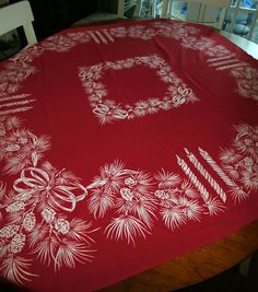 vintage mid century christmas tablecloth red design 50 inch square - Square Christmas Tablecloth