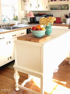 Turning a Buffet/Sideboard into a Kitchen Island, I have a side board and could add a hard surface top that extends out for a seating area with bar stools?!