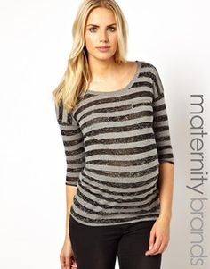 New Look Maternity 3/4 Sleeve Stripe Top