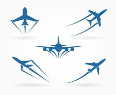 Flying up airplane icons by vectortatu on @creativemarket