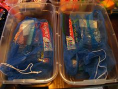 Plastic shoeboxes can be re-used for a long time.  Laundry bags (Dollar tree) contain toothbrushes, etc,..)