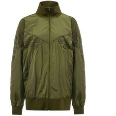 Fenty Puma By Rihanna Lace Insert Bomber Jacket (£400) ❤ liked on Polyvore featuring outerwear, jackets, olive, bomber jackets, olive green jacket, sports jacket, army green jacket and flight jacket