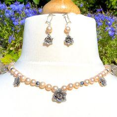 Jane Austen Regency Pink Akoya Pearls Hematite by TrulyVenusian
