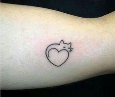 Tatuagem gato e coração