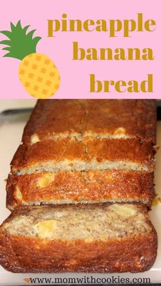 A delicious pineapple banana bread recipe that is easy to make and such a moist bread. This banana and pineapple bread is the perfect snack, breakfast, or even a light dessert! It's easy to make, but oh-so-tasty. Pineapple Banana Bread Recipe, Banana Nut Bread, Banana Bread Recipes, Fresh Pineapple Recipes, Recipes With Bananas, Ripe Banana Recipes Healthy, Homemade Banana Bread, Bread Cake, Dessert Bread