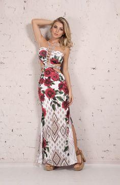 Vestido Longo Rosas Intensas