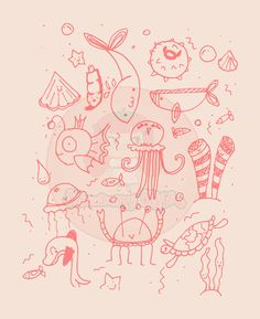 Printable Set of 3 cute pattern illustrations by strawberrystyle, $2.00