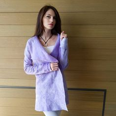 buy felted merino wool coat lilac colour lavender