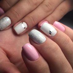 Nail Art magnetic designs for fascinating ladies. Nail Swag, Pink Manicure, Pink Nails, Gel Nails, Polish Nails, Glitter Nails, Nail Art Design Gallery, Best Nail Art Designs, Two Color Nails