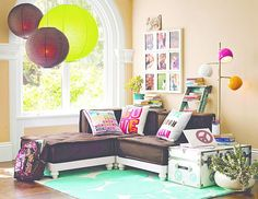 Create a comfy hangout space with Pottery Barn Teen's lounge seating and teen lounge chairs. Shop teen room chairs in many styles, and colors. My New Room, My Room, Girl Room, Girls Bedroom, Teen Lounge Rooms, Teen Hangout Room, Teen Rooms, Kids Rooms, Lounge Seating