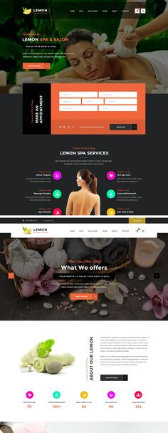 Lemon Spa and Beauty Responsive Website HTML5 Template Html Website Templates, Spa Services, Lemon, Beauty, Beauty Illustration