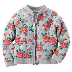Lightweight Quilted Floral Bomber Jacket