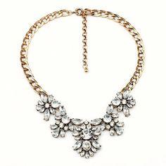 NEW Glass Crystal Pendant Statement Necklace Bib Gold Tone Chain 22 inch US  #JewelStorie #StatementPendant