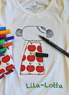 "Schnelles ""Pepp auf"" ... ~ Lila-Lotta - cute idea for combining applique with fabric pens on a kids Tshirt"
