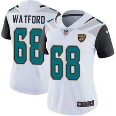 Women's Nike Jacksonville Jaguars #68 Earl Watford White Vapor Untouchable Limited Player NFL Jersey