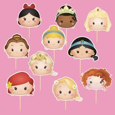Set of 20 Princess Cupcake Toppers - Tsum Tsum Princess Cupcake Toppers - Princess Party - Princess Birthday - by lilbubbleboutique on Etsy