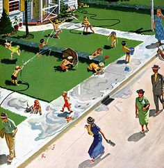 Water Fight, art by Thornton Utz.  Detail from cover of June 30, 1951, Saturday Evening Post.
