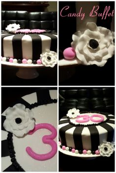 Electric pink, black and white 30th birthday cake by Candy Buffet
