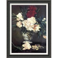 Global Gallery 'Vase of Peonies' by Edouard Manet Framed Painting Print Size: