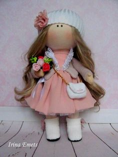 Tilda doll Handmade doll Fabric doll pink brown color Soft doll Cloth doll Baby doll Rag doll Interior doll Art doll by Master Irina E - Ukraine Flowers Delivery Soft Dolls, Baby Dolls, Kids Dolls, Dolls Dolls, Fabric Dolls, Pink Brown, Ukraine, Doll Clothes, Flower Girl Dresses