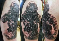 Deep Sea Diver Tattoo by Tony Nguyen at Dead Crow Tattoo in Fountain Valley CA