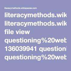 literacymethods.wikispaces.com file view questioning%20web.pdf 136039941 questioning%20web.pdf Reading Difficulties, Literacy, Pdf, Student, Maths