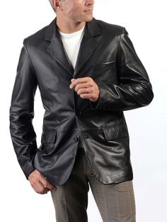 New Men's Genuine Lambskin Leather Blazer Jacket Soft Slim Fit Stylish Coat Mens Leather Blazer, Leather Men, Leather Jacket, Biker Leather, Leather Fashion, Black Leather, Stylish Coat, Stylish Men, Mens Office Fashion