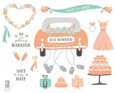 Wedding clip art, just married, retro car, cans, champaine, cake, save the date, invitation, stationery, mint, coral, instant download