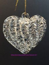 3 Glass Hand Blown Woven Ripple Heart Ornaments | eBay