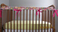 Pink Floral Print Crib Rail cover Retro Hippie by RitzyRetroRooms