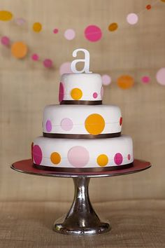 Circle theme - lots of multi-sized circles in yellow and purple. I really like the garland in the bkg of this cake.