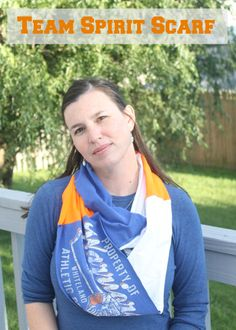 Super easy Team spirit scarf made from t-shirts to show your spirit for your team:high school, college, NFL, Hockey any team!