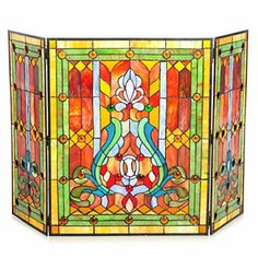 Tiffany-Style Fleur-de-lis Stained Glass Fireplace Screen LOVE IT! Cover the pellet burner with bright colors Stain, Glass Fireplace, Home Decor, Stained Glass Fireplace Screen, Fleur De Lis, Glass, Fireplace, Pellet Burner, Glass Fireplace Screen