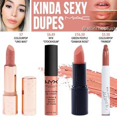 Lipstick dupes 175218241741536977 - MAC Kinda Sexy Lipstick Dupes – All In The Blush Source by jssicasoriano Mac Cosmetics Lipstick, Eyeshadow Dupes, Drugstore Makeup Dupes, Lipgloss, Beauty Dupes, Mac Dupes, Lipstick Mac, Eyeshadow Ideas, Lipsticks