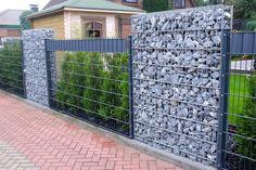 modern home exterior fence design ideas 2019 Gabion Fence, Gabion Wall, Fencing, Backyard Fences, Backyard Landscaping, Gate Design, House Design, Modern Fence Design, Garden Fence Panels